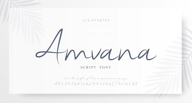 Scritto elegante numero di carattere classico alfabeto lettera Vettore Premium