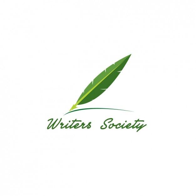Scrittori green logo Vettore gratuito