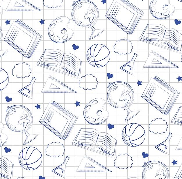 Scrittorio globale della mappa con flacone erlenmeyer e tabellone Vettore gratuito