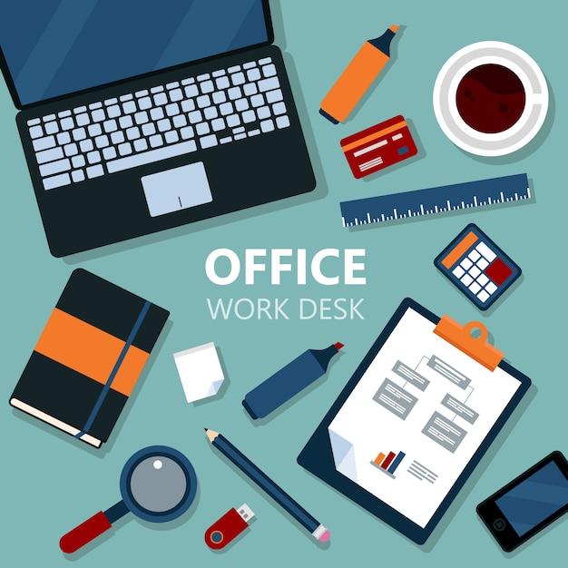 Scrittorio moderno del lavoro d'ufficio con il computer portatile e le attrezzature di ufficio Vettore Premium