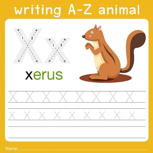 Scrivendo az animal x Vettore Premium