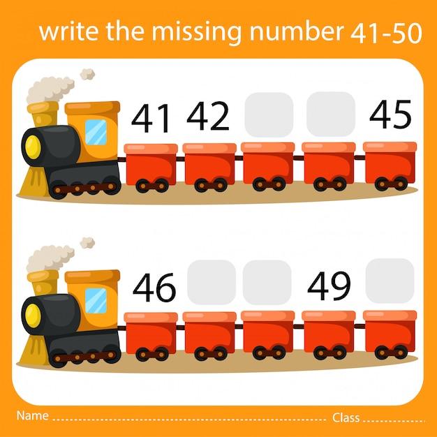 Scrivi il numero mancante treno cinque Vettore Premium