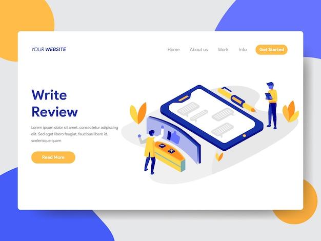 Scrivi l'illustrazione di revisione per la pagina web Vettore Premium