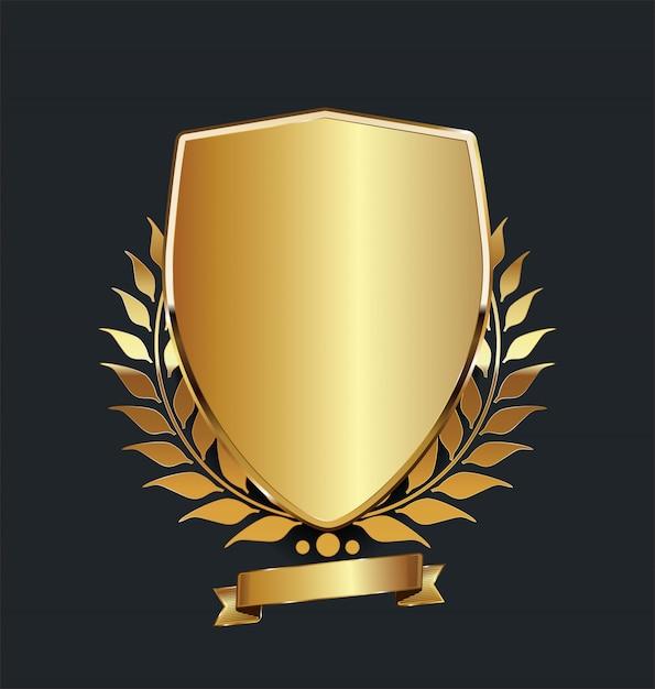 Scudo d'oro con corona d'alloro d'oro Vettore Premium