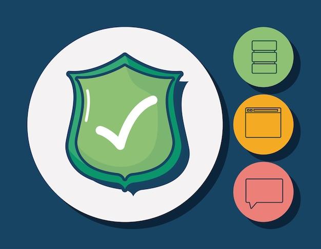 Scudo e cyber sicurezza relative icone intorno cerchi e sfondo blu Vettore Premium