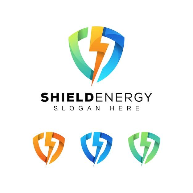 Scudo moderno colorato o logo energia sicura Vettore Premium
