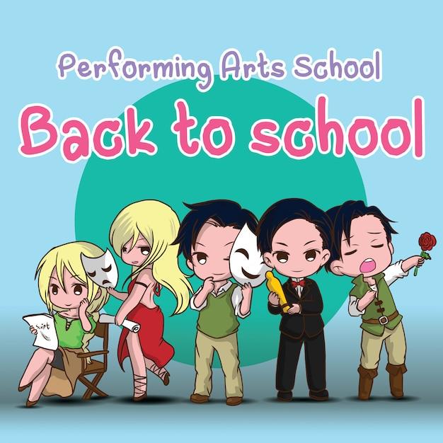 Scuola di arti dello spettacolo. di nuovo a scuola. simpatico cartone animato attore. Vettore Premium