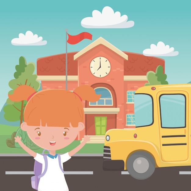 Scuola edificio bus e ragazza Vettore gratuito