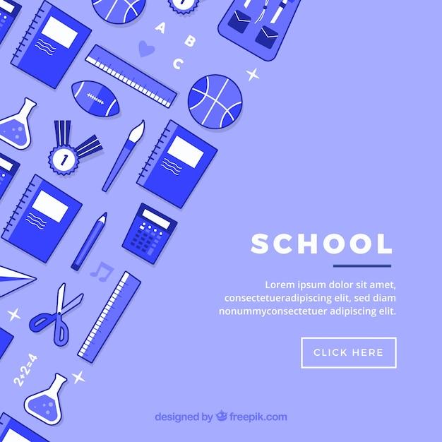Scuola icone sullo sfondo Vettore gratuito
