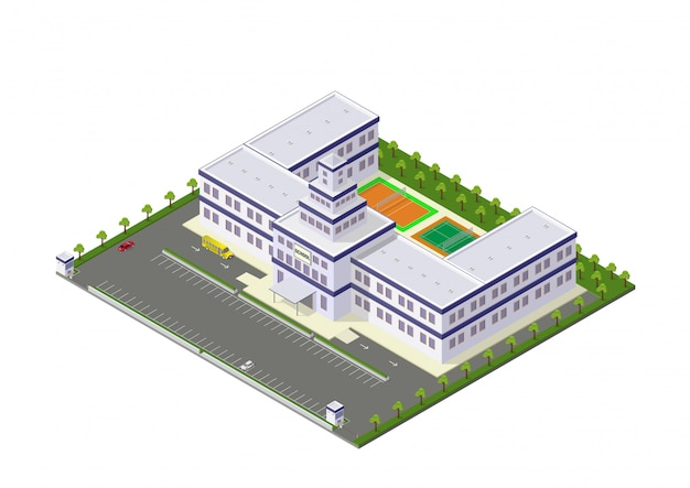 Scuola isometrica di vettore o edificio universitario Vettore Premium