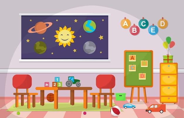 Scuola materna aula bambini bambini scuola giocattoli mobili Vettore Premium