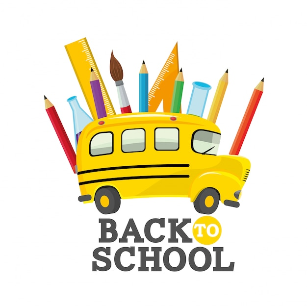 Scuolabus con forniture di utensili didattici Vettore Premium