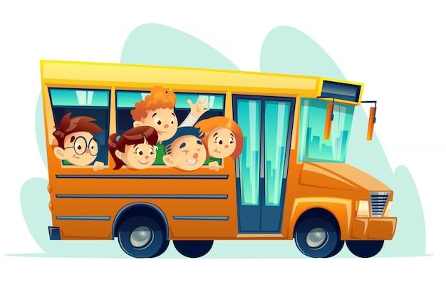 Scuolabus del fumetto pieno di bambini sorridenti Vettore Premium