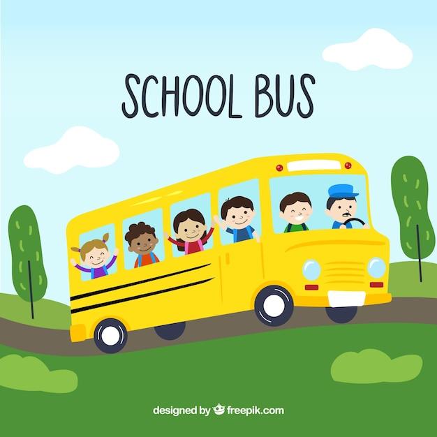 Scuolabus disegnato a mano con i bambini Vettore gratuito