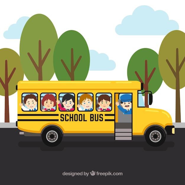 Scuolabus e bambini con design piatto Vettore gratuito