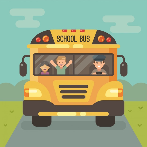 Scuolabus giallo sulla strada, vista frontale, con autista e due bambini. un ragazzo e una ragazza. Vettore Premium