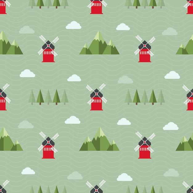 Seamless background modello di fattoria con mulino a vento rosso, moutain, albero e nuvola nel campo verde Vettore Premium