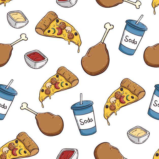 Seamless cibo spazzatura con pizza soda e coscia di pollo Vettore Premium