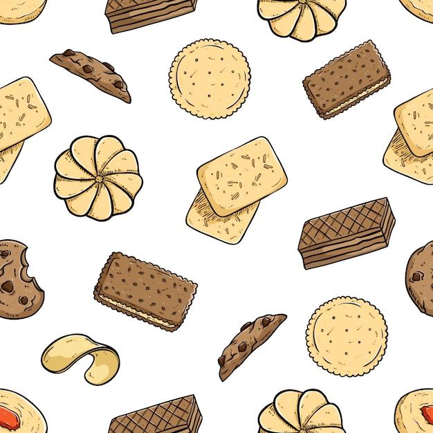 Seamless di biscotti con stile doodle colorato su sfondo bianco Vettore Premium