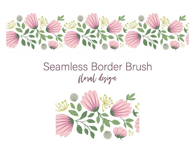 Seamless di foglie verdi con fiori rosa e denti di leone. ornamento floreale del bordo. illustrazione piatta alla moda Vettore Premium