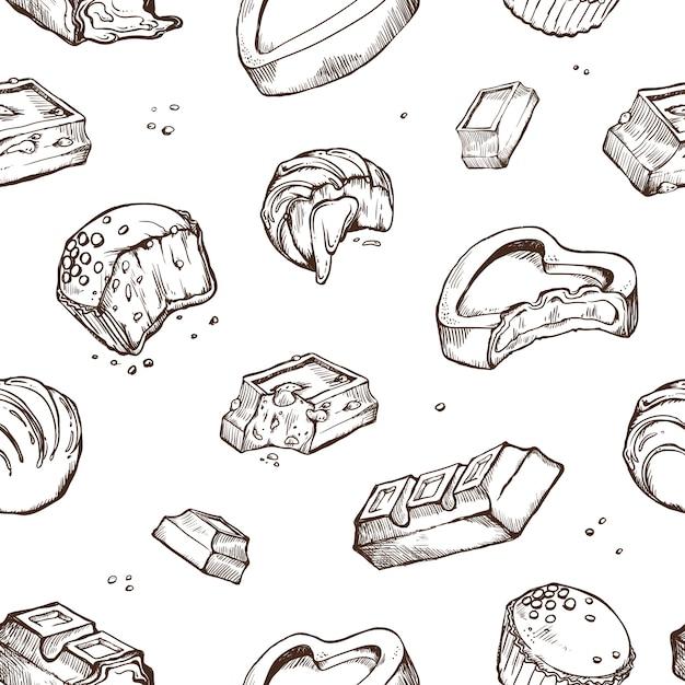 Seamless di schizzi di cioccolato pungente. panini dolci, barrette, glassati, fave di cacao. oggetti isolati su un bianco Vettore Premium