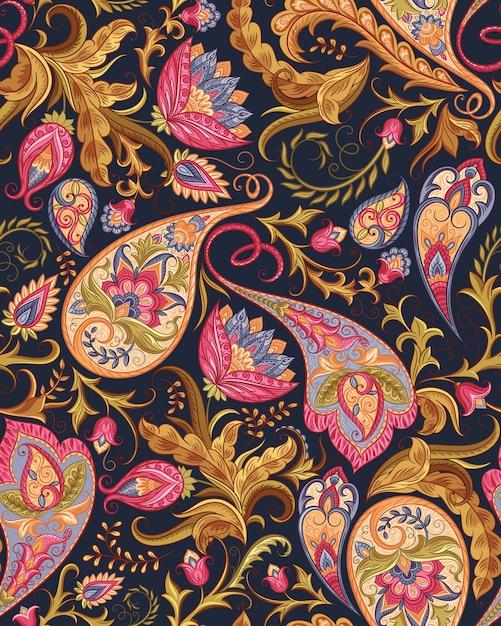 Seamless paisley pattern Vettore Premium