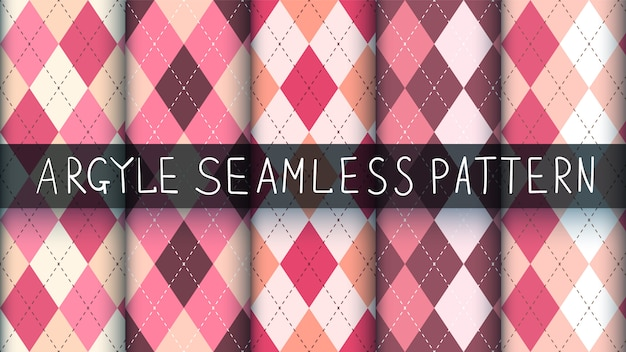 Seamless pattern argyle plaid rosa. Vettore Premium