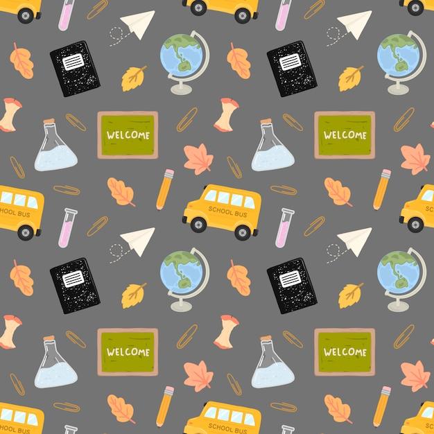 Seamless pattern back to school con accessori per la formazione della scuola Vettore Premium