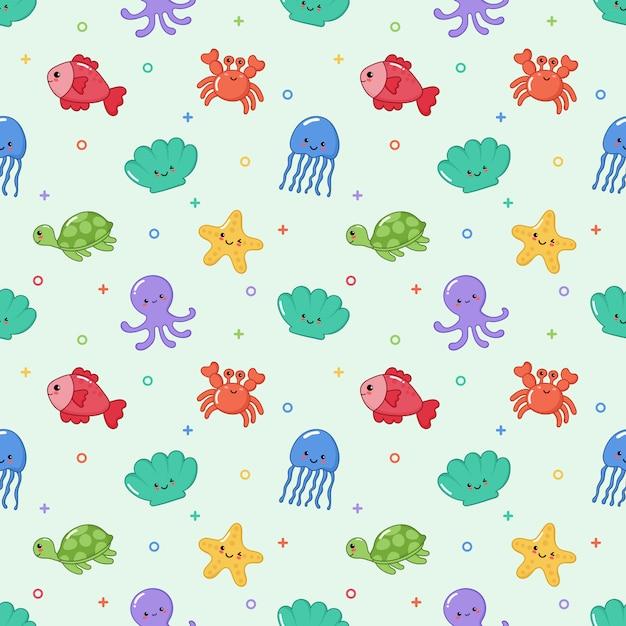Seamless pattern carino divertente mare e oceano animali cartoon Vettore Premium
