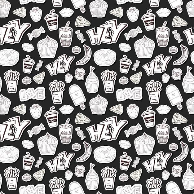 Seamless pattern cartoon con cibo. cartoon sfondo in stile alla moda Vettore Premium