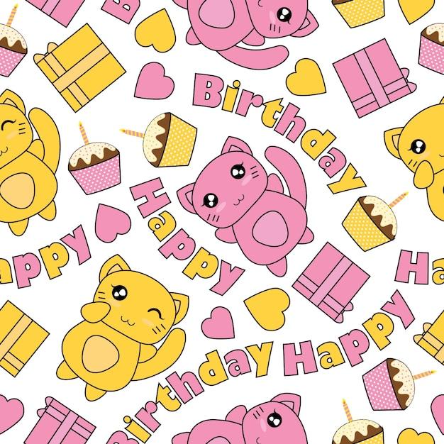 Seamless pattern con i gatti kawaii torta di compleanno e