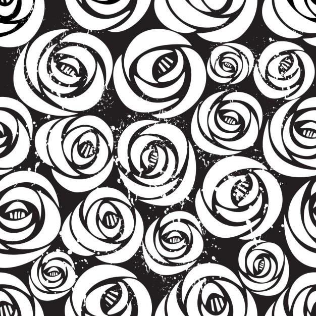 Seamless Pattern Con Rose Bianche Su Sfondo Nero Con Illustrazione