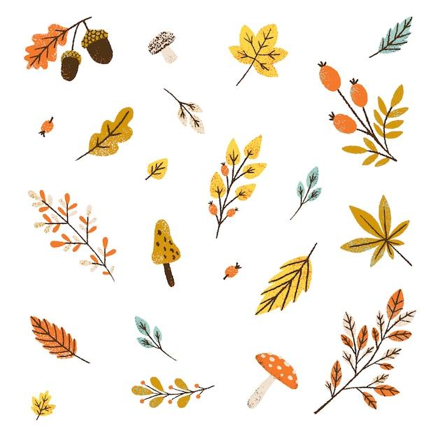 Seamless pattern d'autunno. illustrazione di foglie e funghi. Vettore Premium
