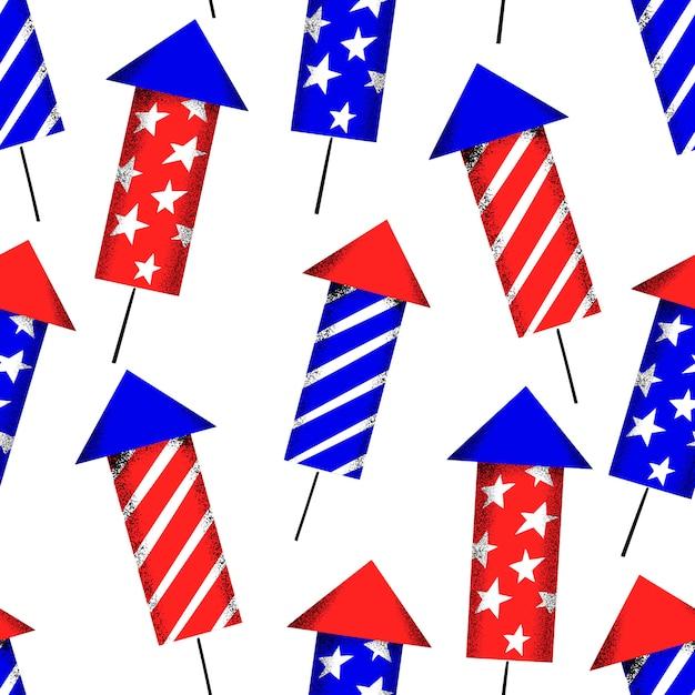 Seamless pattern di america independent day. illustrazioni festive di vettore. 4 luglio con fuochi d'artificio Vettore gratuito