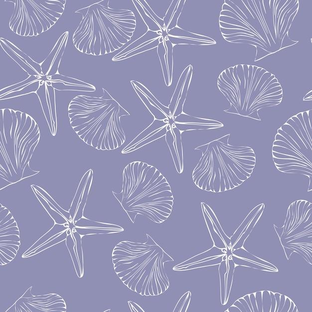 Seamless pattern di conchiglie. pettine Vettore Premium