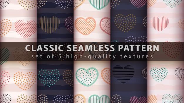 Seamless pattern di cuore Vettore Premium