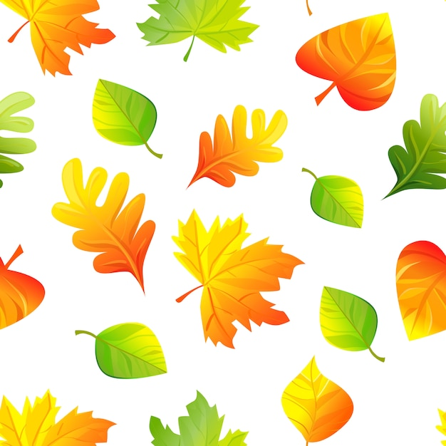 Seamless pattern di foglie d'autunno Vettore Premium