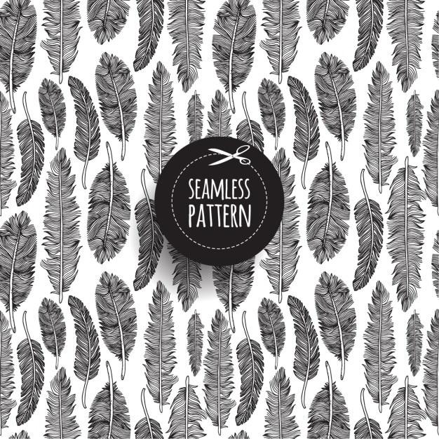 Seamless pattern di piume su bianco disegnato a mano illustrazione Vettore gratuito