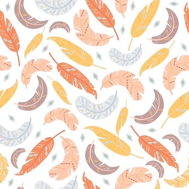 Seamless pattern di piume Vettore gratuito