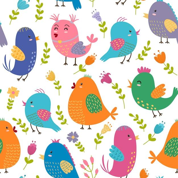 Seamless pattern di uccelli carini Vettore Premium