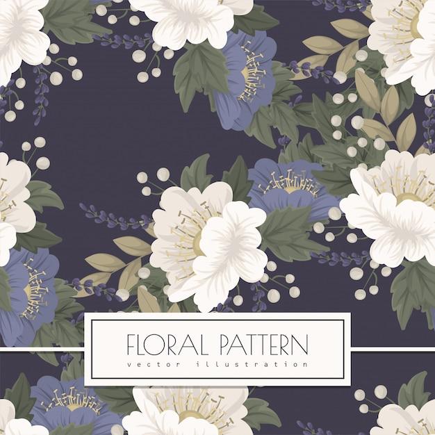 Seamless pattern fiore blu Vettore gratuito