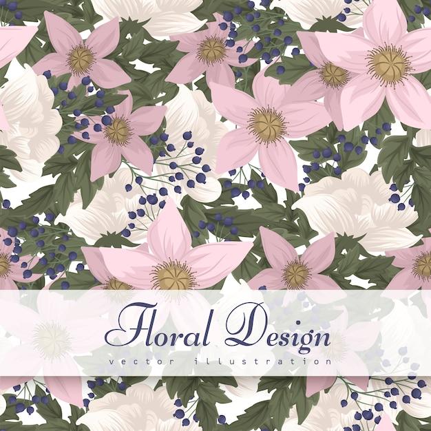 Seamless pattern fiore rosa Vettore gratuito