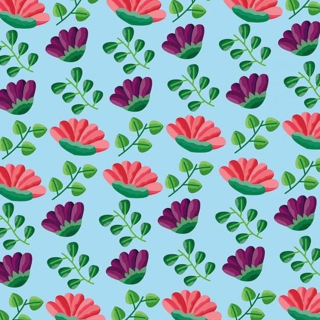 Seamless pattern fiori foglie decorazione fogliame Vettore gratuito
