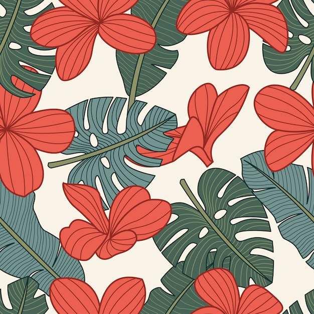 Seamless pattern floreale con fiori tropicali Vettore Premium