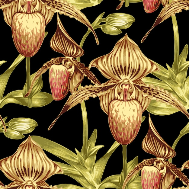 Seamless pattern floreale con orchidee. Vettore Premium
