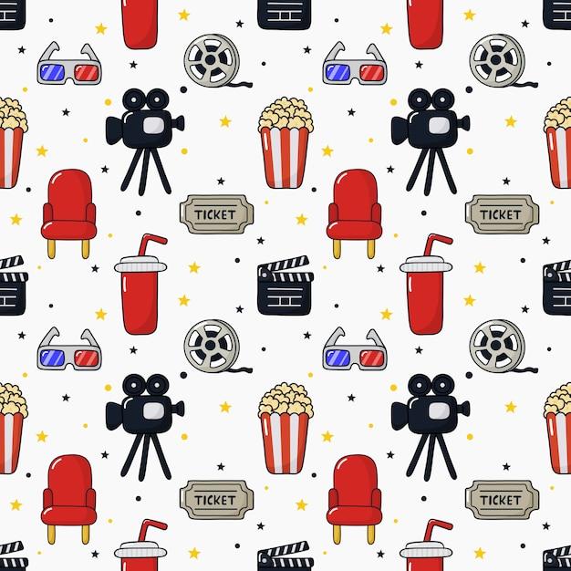 Seamless pattern icone del cinema. raccolta di segni e simboli Vettore Premium