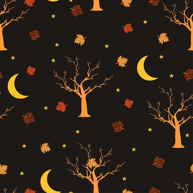 Seamless pattern notte di halloween Vettore Premium