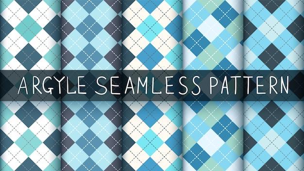Seamless pattern plaid argyle blu. Vettore Premium