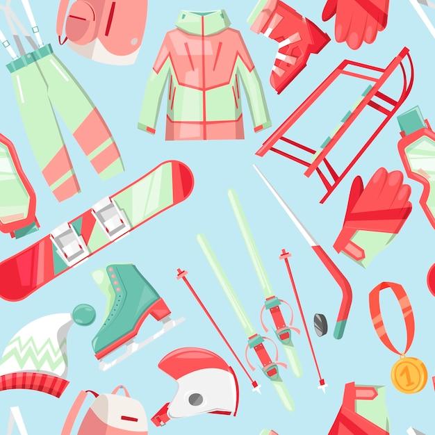 Seamless pattern stagione invernale Vettore Premium