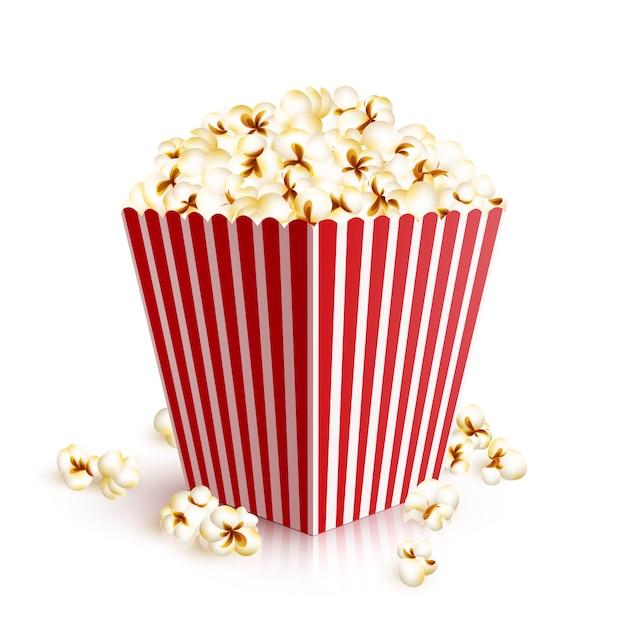 Secchio di popcorn realistico Vettore gratuito